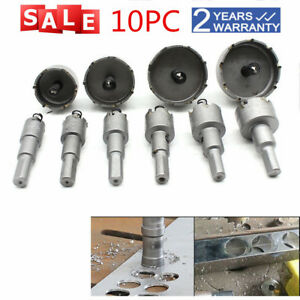 10pcs Carbide Tip Tct Drill Bit Hole Saw Set Stainless Steel Metal Alloy Cutter