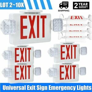 Lot 2 10pack Red All Led Exit Sign Emergency Light Square Head Combo Ul Combor2