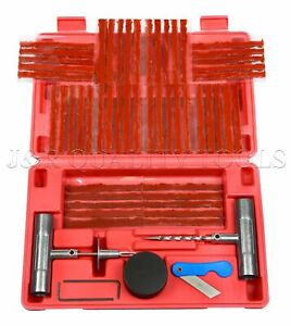 57 Piece Tire Repair Tools Kit Plug Flat And Punctured Tires For Motorcycle Atv