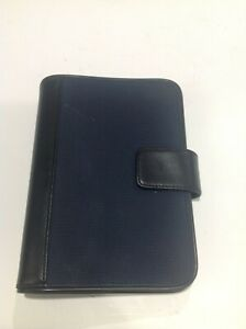Day Runner Planner Binder 7 8 Rings Blue Fabric Faux Leather Compact Portable