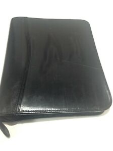 Day timer Black Leather Classic Planner Binder 5 5x8 5 Page Size Zip Around