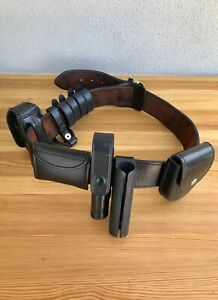 Bianchi b2 Leather Police Security Duty Belt Size 36 With Gun Holster