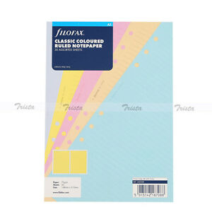 Filofax A5 Organiser Classic Coloured Ruled Notepaper Diary Refill 340508 Gift