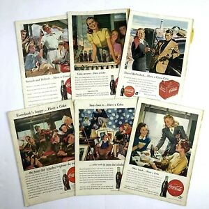 Set of 6 Vintage COCA-COLA 1940's Print Ads Have A Coke