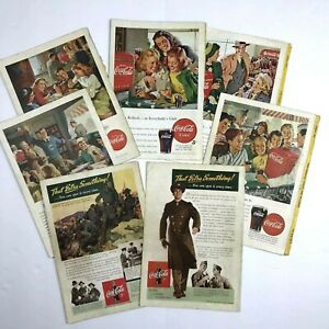 Set of 7 Vintage COCA-COLA 1940's Print Ads