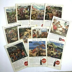Set of 11 Vintage COCA-COLA 1940's Print Ads US Military