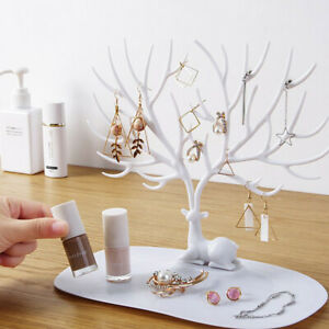 Jewelry Necklace Earring Tree Display Hanger Rack Stand Organizer Holder White