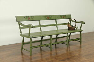 Hitchcock Antique 1850 New England Deacon Or Hall Bench Painted Settle 31522