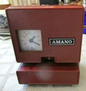 Vintage Electric Amano Time Punch Clock Model 3707 Works No Key