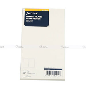 Filofax Personal Size White Plain Notepaper Value Pack Refill 132451 Gift New