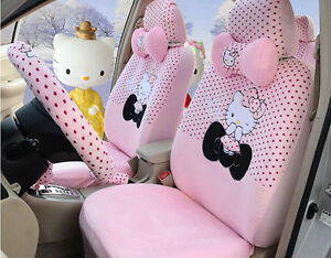 New1 Sets Plush Universal Hello Kitty Car Seat Cover Seat Covers Accessory Pink