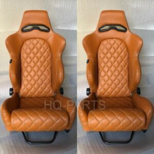 2 X Tanaka Tan Pvc Leather Racing Seat Reclinable Diamond Stitch Fits Mitsubishi