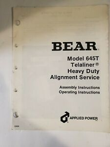 Bear Model 645t Telaliner Heavy Duty Alignment Service Assembly Operating