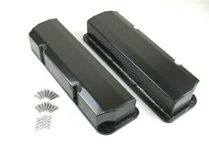 Ford 351c Tall Fabricated Aluminum Valve Cover Pair Black Anodized Bpe 2335ba
