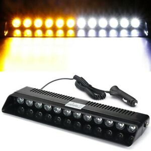 12led Amber White Dash Warning Emergency Flashing Light Car Truck Strobe Lamp