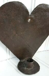 Antique Tin Wall Sconce Hanging Taper Candle Stick Holder Heart Primitive Metal