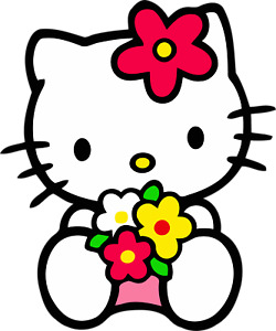 Hello Kitty Flowers Sticker For Skateboard Luggage Laptop Tumblers