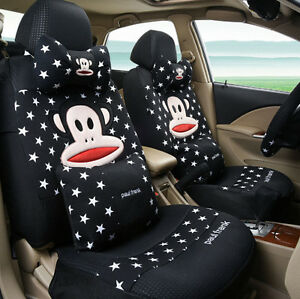 19ps New Set Cartoon Lovers Car Seat Cover Cute Car Covers Universal Black Star
