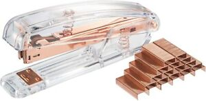 Acrylic Clear Desktop Stapler And Rose Gold With 1000 Staples modern Design Offi
