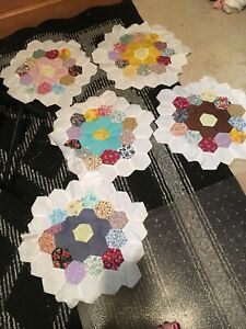 Vintage Lot Of 5 Grandmother S Flower Garden Quilt Blocks 14 Hand Sewing