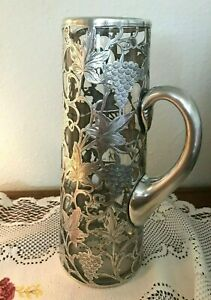 Antique Alvin Engraved Sterling Overlay Decanter Pitcher