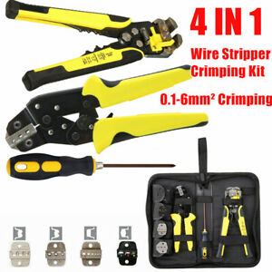4 Die Sets ratcheting Wire Terminal Crimpers Pliers Cord End Terminals Tool 4in1