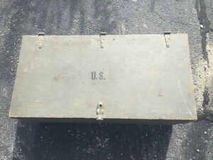 Vintage Wood Foot Locker Military Us Army Trunk Chest