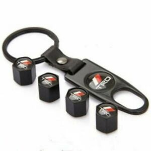 Black Trd Tire Valve Stem Air Caps Cover And Keychain