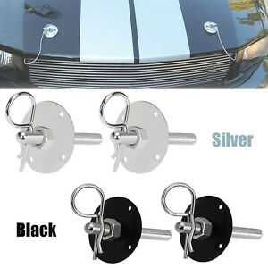 Black Silver Stainless Steel Hood Pin Lock Clip Set Universal For Ford Mustang