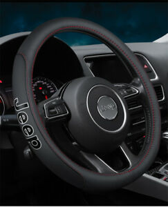 15 Car Steering Wheel Cover Genuine Leather For Jeep