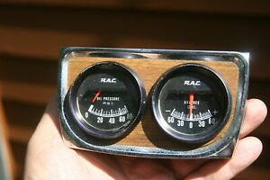 Vintage Rac Gauge Set In Wood Grain Panel