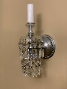 Antique Pair Georgian Crystal Wall Sconces Colonial Prisms Victorian