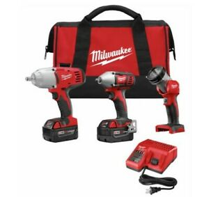 Milwaukee M18 Cordless 1 2 And 3 8 Drive Impact Wrench Combo Kit 2 Batteries