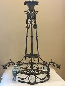 Antique Bronze French Louis Xv Basket Chandelier E F Caldwell Attribute