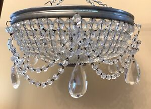 Antique French Crystal Dome Beaded Shade Basket Chandelier Flush Mount 12