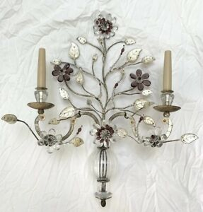 Maison Bagues Pair Crystal Silver Gilt Iron Urn Wall Sconces Flower Bouquet