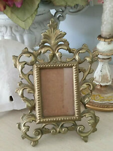 Antique Cast Iron Metal Ornate Picture Photo Frame Gold Patina Easel Wallet Size