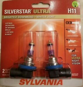 Sylvania Silverstar Ultra H11 Dual Pack Halogen Headlights Brand New Sealed