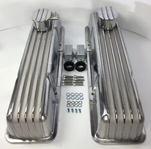 Small Block Chevy Tall Aluminum Finned Valve Covers W Breather