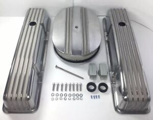 Aluminum Finned Tall Valve Covers W 12 Air Cleaner For Small Block Chevy