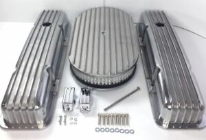 Small Block Chevy Finned Aluminum Short Valve Covers With 15 Air Cleaner