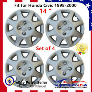 Set 4 Hubcaps 14 Wheel Cover Montreal Silver Abs Fit Honda Civic 1998 2000