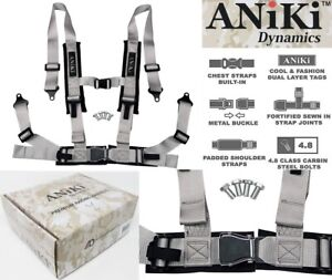 Aniki Gray 4 Point Aircraft Buckle Seat Belt Harness W Ultra Shoulder Pad New