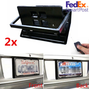 2x Hidden Flip Electric Usa Car License Plate Frame Turn Over Wireless Remote