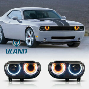 Pair Led Drl Projector Headlights For 2008 2014 Dodge Challenger Front Lamps