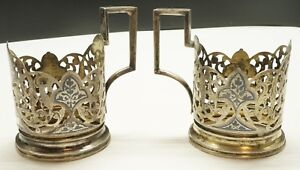 Pair Of Russian 875 Silver Glass Cup Holders Vintage Niello Gilt 155 5g