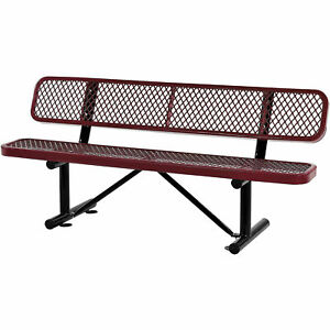 72 l Expanded Metal Mesh Bench With Back Rest Red Lot Of 1