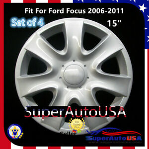 Set Of 4 Hubcaps 15 Wheel Cover Silver Abs Fit For Ford Focus 2006 2011