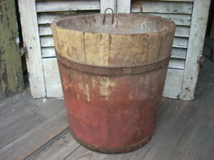 Antique Primitive Sap Maple Syrup Painted Wood Bucket Farm Country Rustic
