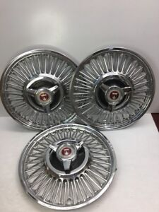 3 Oem Ford Mustang Spinner Wire Hubcap Wheel Cover
